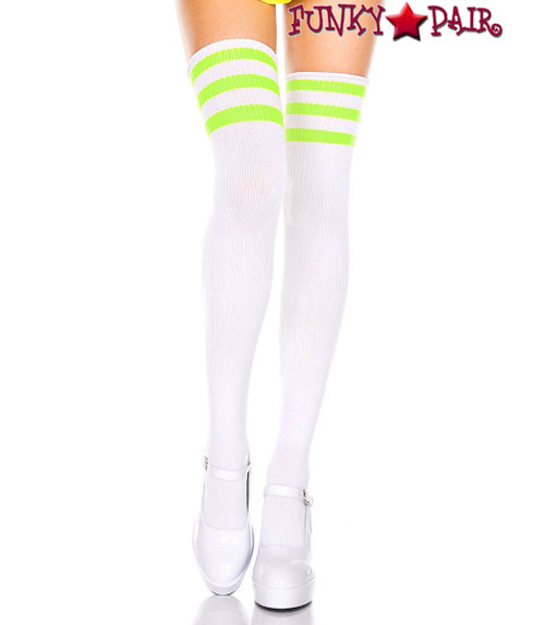 White Thigh High With Neon Green Athletic Striped by Music Legs ML-4245