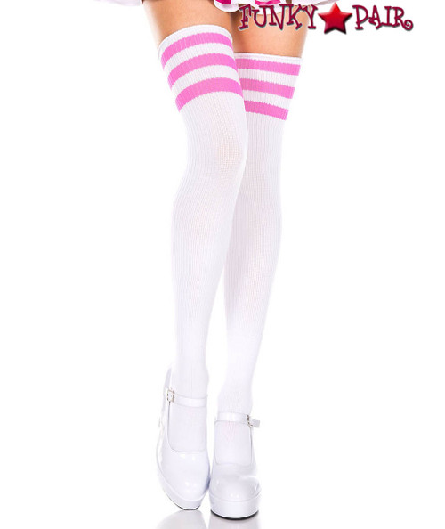 Music Legs ML-4245, White Thigh High With Neon Pink Athletic Striped