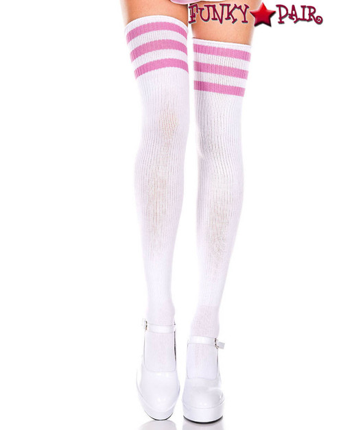 White Thigh High With Pink Athletic Striped by Music Legs ML-4245