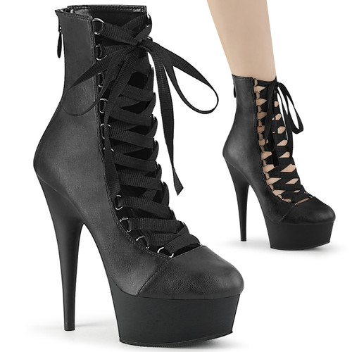 Pleaser Ankle Bootie | Delight-600-29, 6 Inch Open Front Lace-up