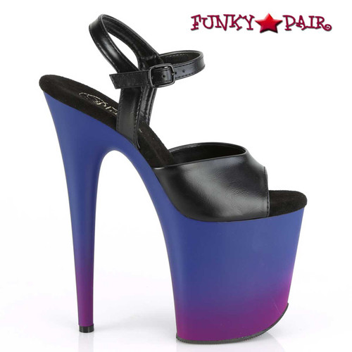 Pleaser | Flamingo-809BP, 8 Inch Platform with Ombre Effect side view