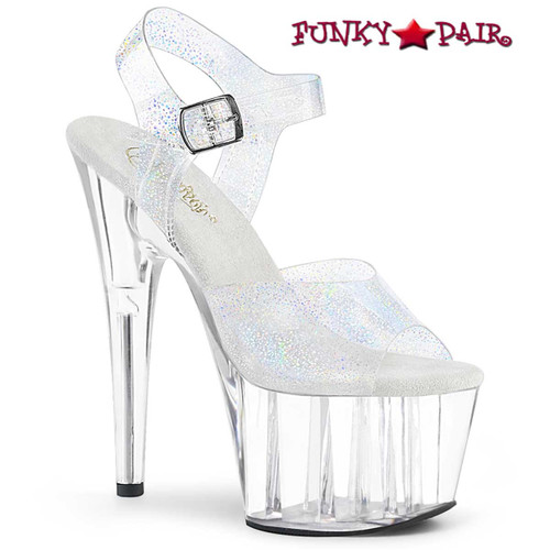 Adore-708N-MG, Clear with Silver Hologram Platform Sandal by Pleaser Shoes