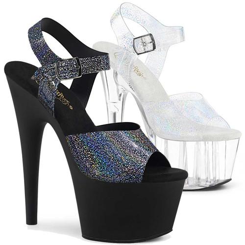 Adore-708N-MG, Silver Hologram Platform Sandal by Pleaser Shoes