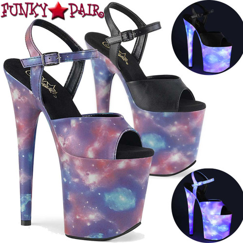 Pleaser Flamingo-809REFL, 8 Inch Sandal with Galaxy Effect