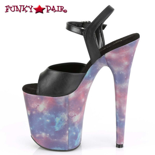 Pleaser Flamingo-809REFL, 8 Inch Sandal with Galaxy Effect inner side view