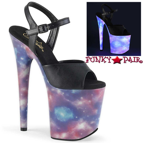 Flamingo-809REFL, 8 Inch Sandal with Galaxy Effect by Pleaser Shoes