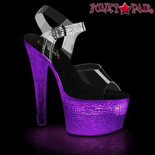 Lite-Up Stripper Shoes | Flashdance-708XTAL, Sandal with Crystal Stones color purple