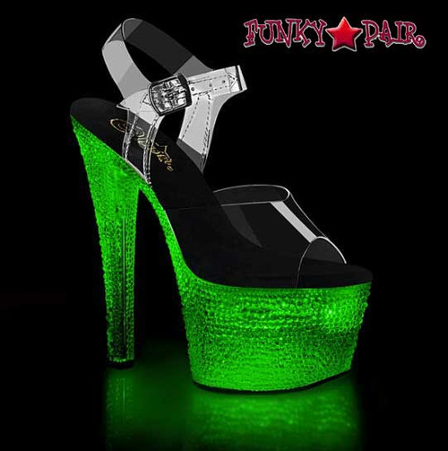 Lite-Up Stripper Shoes | Flashdance-708XTAL, Sandal with Crystal Stones color green