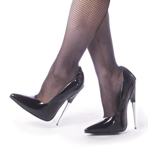 6 Inch Metal Stiletto Black Fetish Shoes Devious | SCREAM-01BP