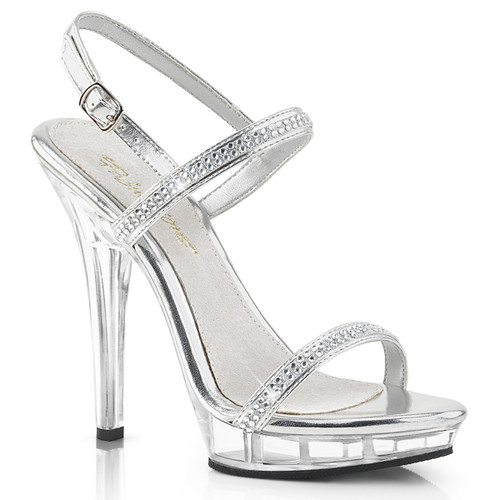 """5"""" Clear and Mirror Plated Wedding Shoe Fabulicious 