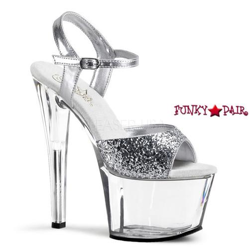 Pleaser | SKY-310, Glitter Ankle Strap Sandal