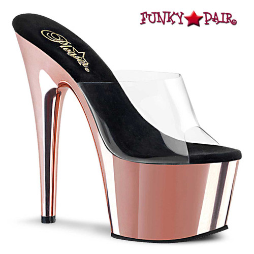 "ADORE-701, 7"" Clear/Rose Gold Chrome Platform Stripper Shoes by Pleaser"
