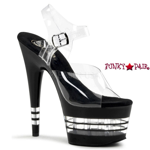 ADORE-708LN, Clear Line Bottom Ankle Strap Sandal | FunkyPair.com