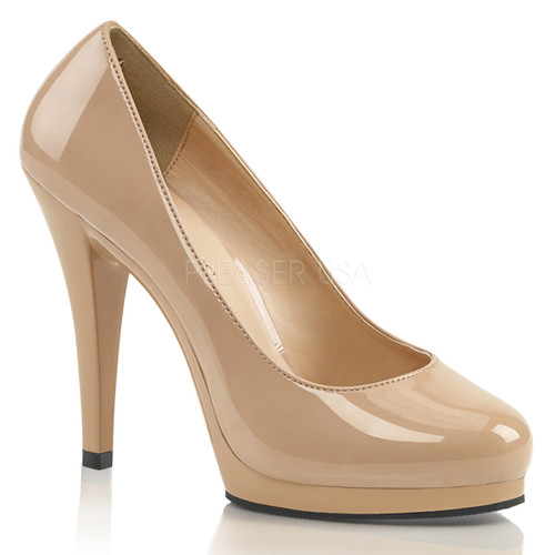 FLAIR-480, Platform Stiletto Heel Shoes Made By PLEASER Shoes nude