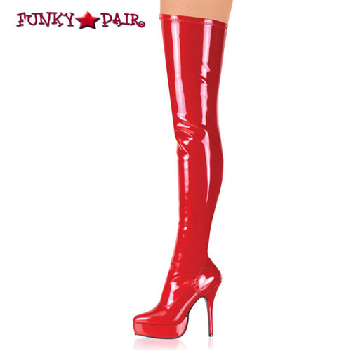 Red Platform Stretch thigh high  boots Fetish Boots | INDULGE-3000,