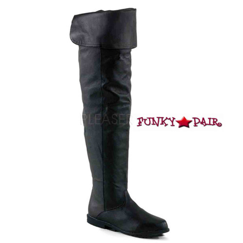 Raven-8826, Thigh-high boot Black Leather  sz 6-14 * Made by FUNTASMA