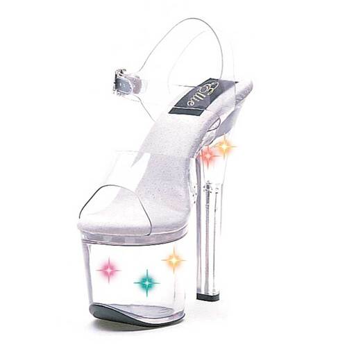 L7-Flirt, 7 Inch High Heel with 2.75 Inch Platform  Ankle Strap Sandal w/Multi-Color Lights Made By ELLIE Shoes