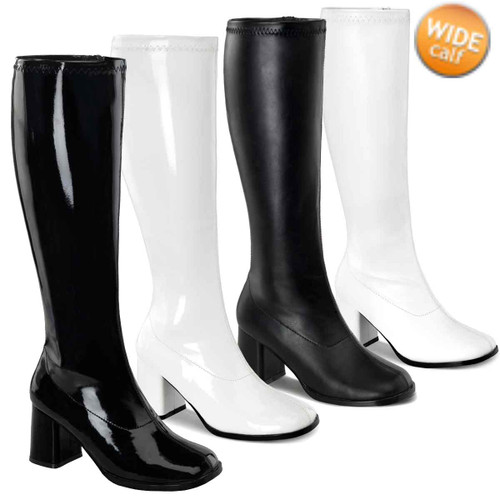 "GOGO-300WC 3/"" WIDE WIDTH//WIDE CALF SOFT STRETCH RETRO GOGO KNEE HIGH BOOT"