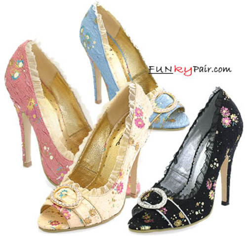 418-Tori, Peep Toe Victorian Costume Pump Made By ELLIE Shoes