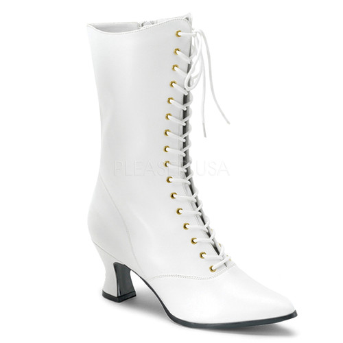 Victorian-120, Women Victorian Boot White Faux Leather