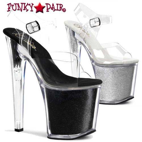 Pleaser | XTREME-808G, Ankle Strap Glitters Platform Sandal