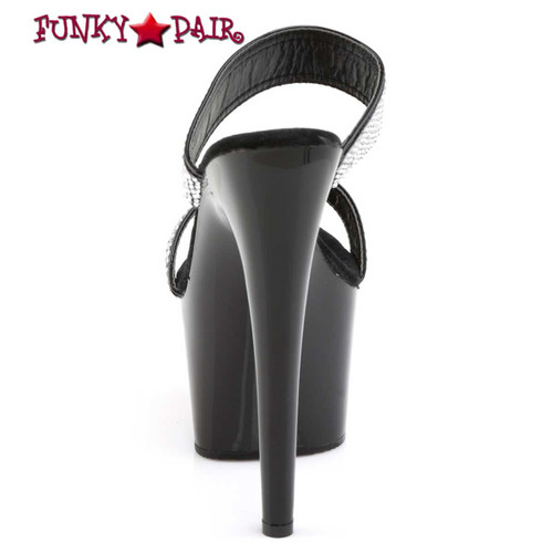 ADORE-702-2, 7 Inch Sexy High Heel Slide Two-Band Rhinestones Back View