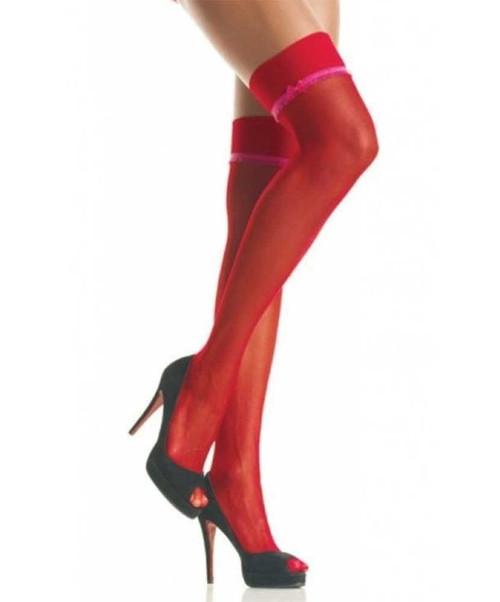 1004Q, Plus Size Sheer stocking with ruffle trim