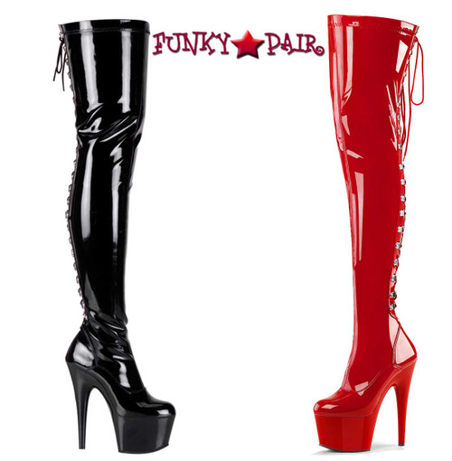 Pleaser | ADORE-3063, Thigh High Boots with Rear Lace Up