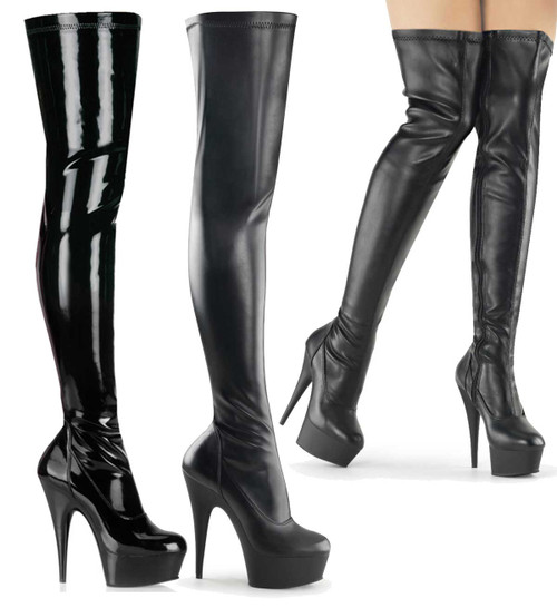 "DELIGHT-3000, 6"" Platform Stretch Thigh High Boots by Pleaser USA"