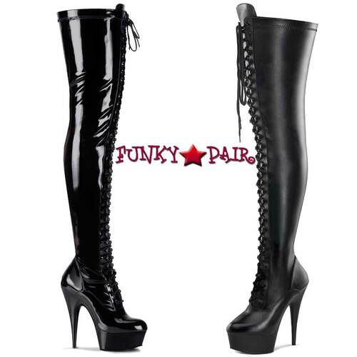 Pleaser | DELIGHT-3023, Stripper Thigh High Boots