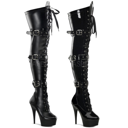 Pleaser Boots | DELIGHT-3028, Platform Buckle Platform Thigh High Boots
