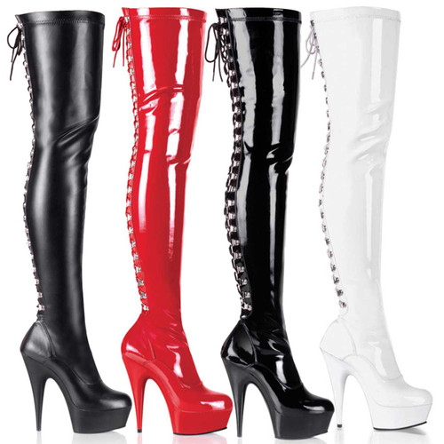 Pleaser | DELIGHT-3063, 6 Inch Exotic Dancer Rear Lace-Up Thigh High Boots