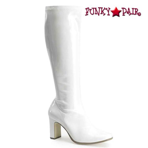 Kiki-350 Gogo Knee High Boot Color White Patent