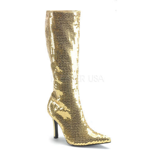 Gold Sequins Knee High Boots Funtasma | LUST-2001