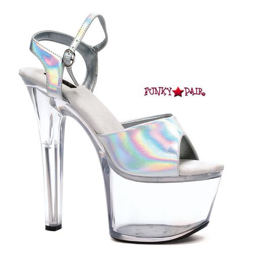 711-Flirt-H, 7 Inch High Heel with 2.75 Inch Platform Hologram Dancer Heel Made By ELLIE Shoes