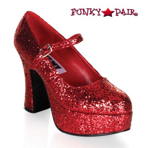 "MARYJANE-50G, 4"" Red Glitters Mary Jane Pump by Funtasma"