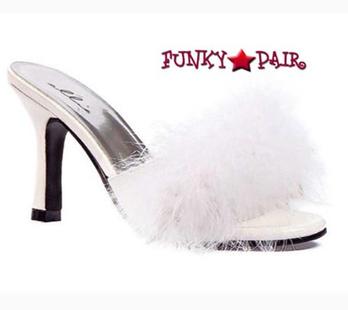 """Ellie Shoes   361-Sasha 3.5"""" Fur Marabou Slipper white"""