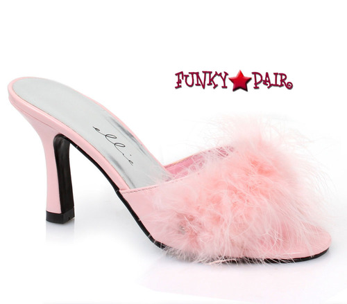 "Ellie Shoes   361-Sasha 3.5"" Fur Marabou Slipper pink"