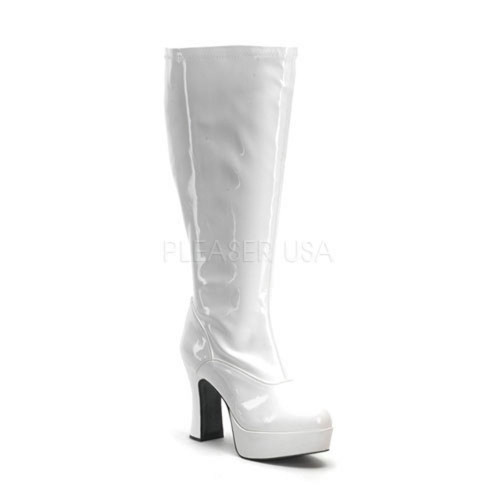 White Wide Width and Calf Platform Gogo Boot