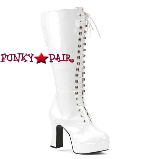 Pleaser | Exotica-2020X, Wide Width Platform Laces GoGo Boot