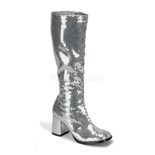 SILVER Sequins GO GO BOOTS