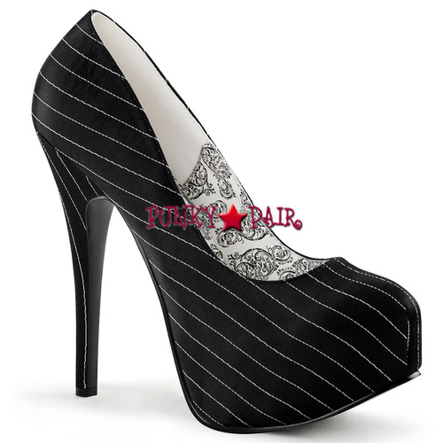 TEEZE-06, 5.75 Inch High Heel with 1.75 Inch Platform Bordello Shoes color Black Satin