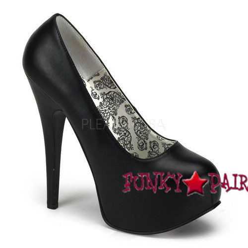 TEEZE-06, 5.75 Inch High Heel with 1.75 Inch Platform Bordello Shoes color Black Faux Leather