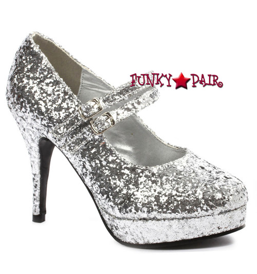 "Silver 4"" Mary Jane Glitter Pump 