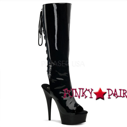 Black Patent platform Peep Toe and Open Back Knee High Boot