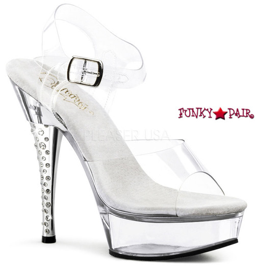 Diamond-608, 6 inch high heel wtih 1.75 inch platform with Rhinestones Embedded Heel Clear Ankle Strap Sandal