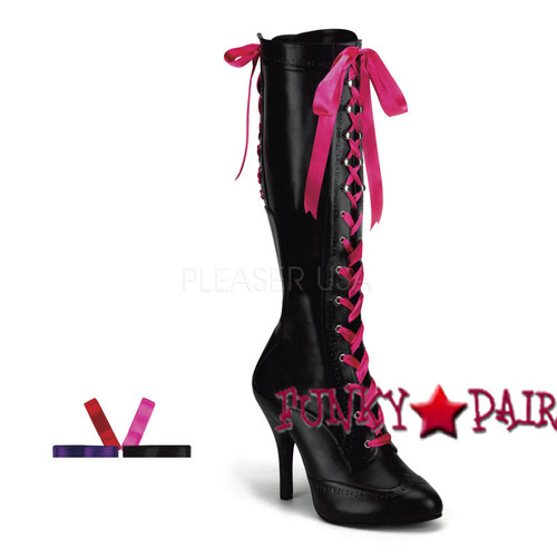 Tempt-125, 4.5 Inch High Heel Lace up Knee high boot