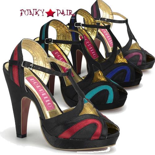 Giggle-02, 4.5 Inch High Heel Two Tone Satin Peep Toe Sandal Made By Bordello
