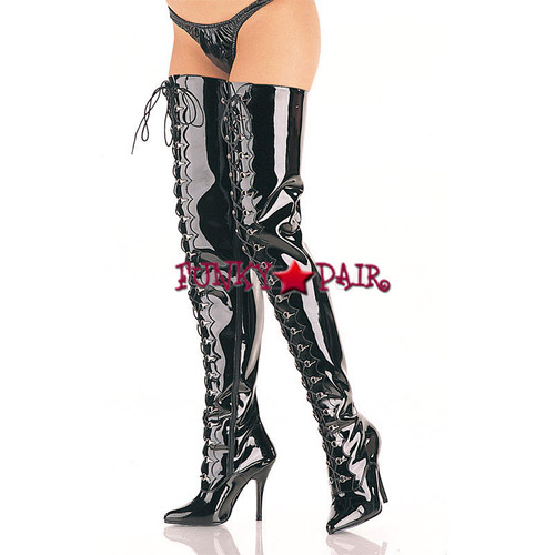 Seduce-4026, D-ring Lace-up Crotch Boots sz 6-16 * Made by PLEASER Shoes