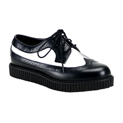 Creeper-608, Black/White Oxford Leather Creeper * Creeper-608 Made by Demonia